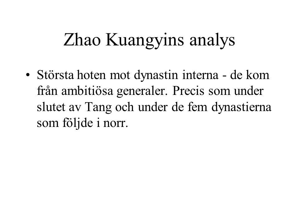Zhao Kuangyins analys Största hoten mot dynastin interna - de kom från ambitiösa generaler. Precis som under slutet av Tang och under de fem dynastier