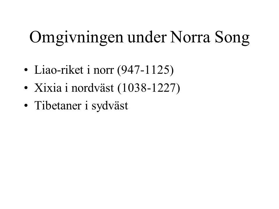Omgivningen under Norra Song Liao-riket i norr (947-1125) Xixia i nordväst (1038-1227) Tibetaner i sydväst