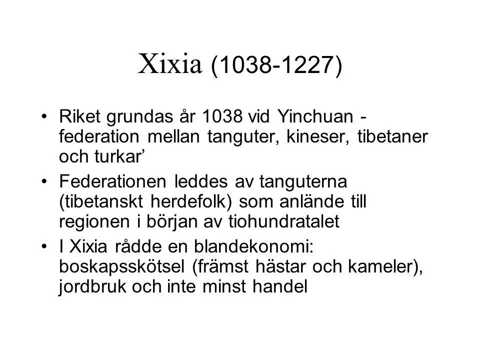Xixia (1038-1227) Riket grundas år 1038 vid Yinchuan - federation mellan tanguter, kineser, tibetaner och turkar' Federationen leddes av tanguterna (t