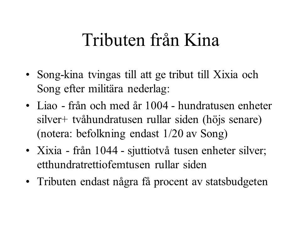 Tributen från Kina Song-kina tvingas till att ge tribut till Xixia och Song efter militära nederlag: Liao - från och med år 1004 - hundratusen enheter