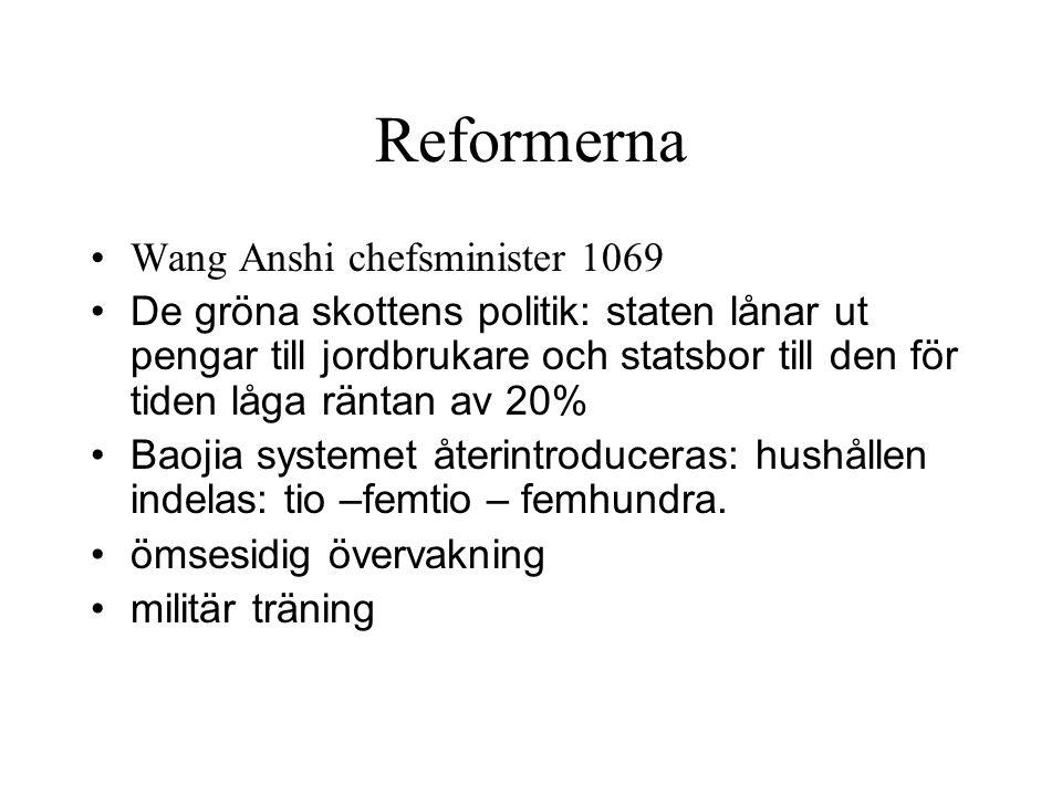 Reformerna Wang Anshi chefsminister 1069 De gröna skottens politik: staten lånar ut pengar till jordbrukare och statsbor till den för tiden låga ränta