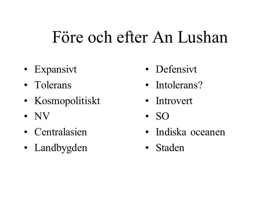 Före och efter An Lushan Expansivt Tolerans Kosmopolitiskt NV Centralasien Landbygden Defensivt Intolerans? Introvert SO Indiska oceanen Staden