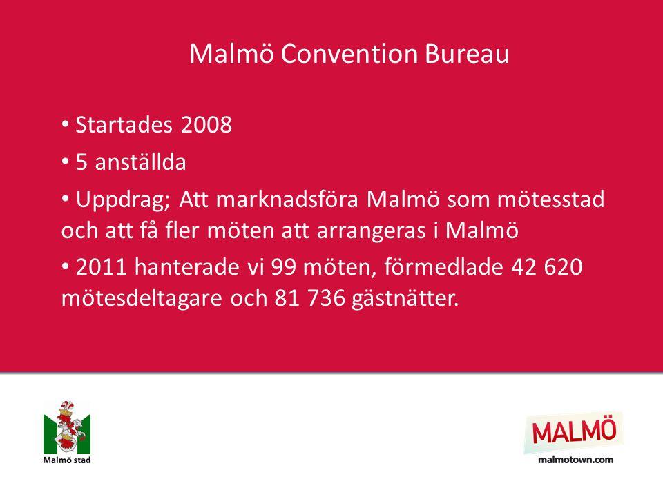 Malmö Convention Bureau Startades 2008 5 anställda Uppdrag; Att marknadsföra Malmö som mötesstad och att få fler möten att arrangeras i Malmö 2011 hanterade vi 99 möten, förmedlade 42 620 mötesdeltagare och 81 736 gästnätter.
