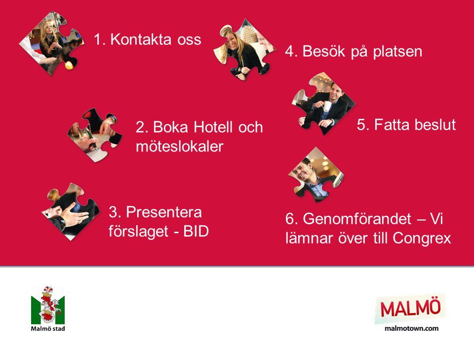 1. Kontakta oss 2. Boka Hotell och möteslokaler 3. Presentera förslaget - BID 4. Besök på platsen 5. Fatta beslut 6. Genomförandet – Vi lämnar över ti