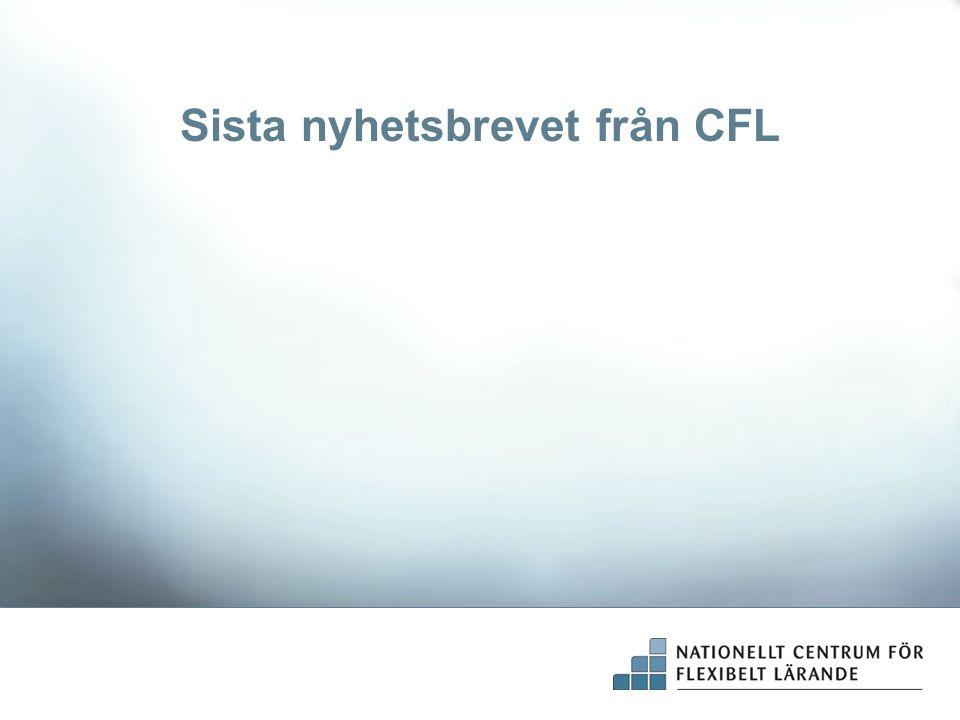 Sista nyhetsbrevet från CFL