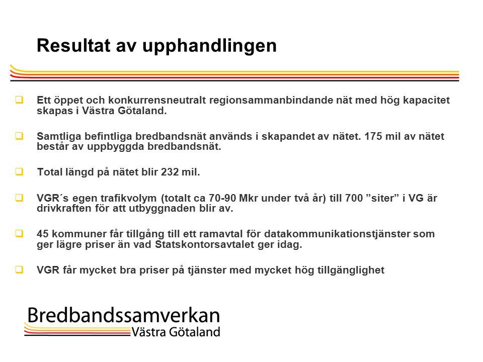 TietoEnator © 2003presentationPage 17 Resultat av upphandlingen  Ett öppet och konkurrensneutralt regionsammanbindande nät med hög kapacitet skapas i Västra Götaland.