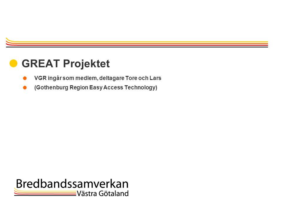 TietoEnator © 2003presentationPage 21  GREAT Projektet  VGR ingår som medlem, deltagare Tore och Lars  (Gothenburg Region Easy Access Technology)