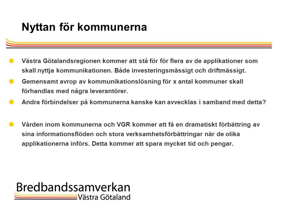 TietoEnator © 2003presentationPage 30 Nyttan för kommunerna  Västra Götalandsregionen kommer att stå för för flera av de applikationer som skall nyttja kommunikationen.