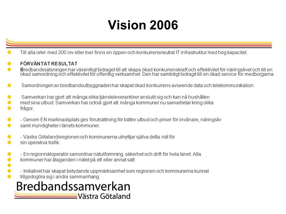 TietoEnator © 2003presentationPage 8 Vision 2006  Till alla orter med 200 inv eller mer finns en öppen och konkurrensneutral IT infrastruktur med hög kapacitet.