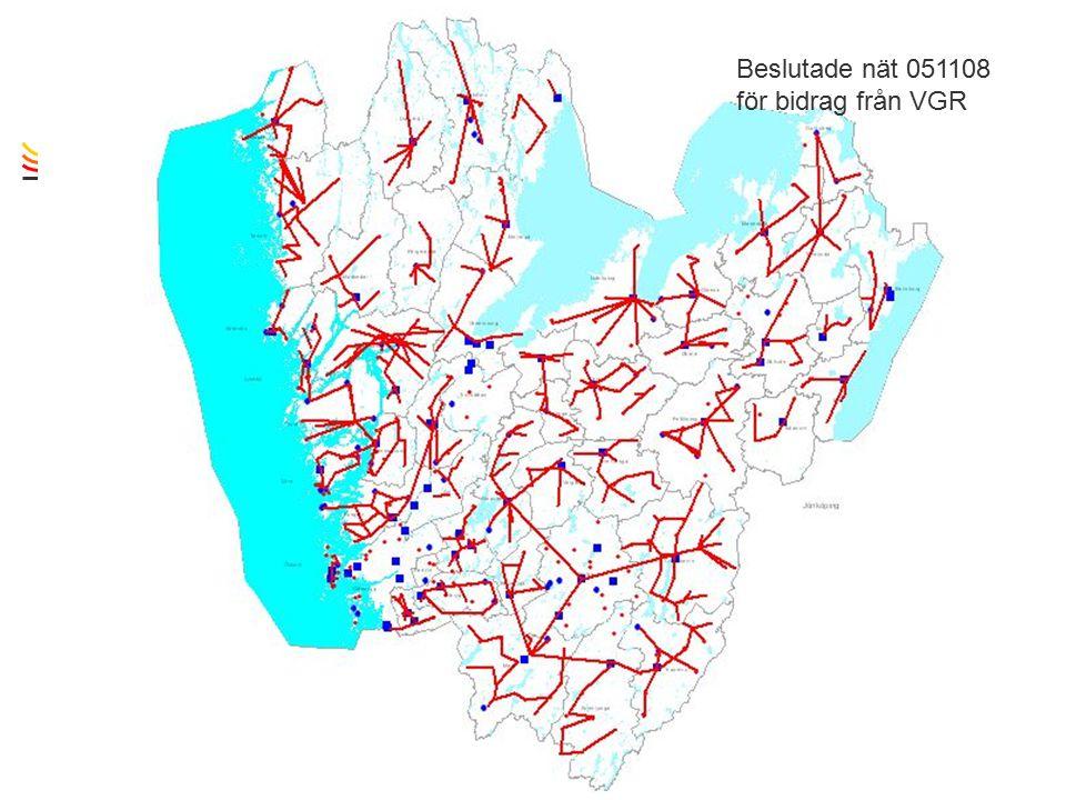 TietoEnator © 2003presentationPage 9 Beslutade nät 051108 för bidrag från VGR
