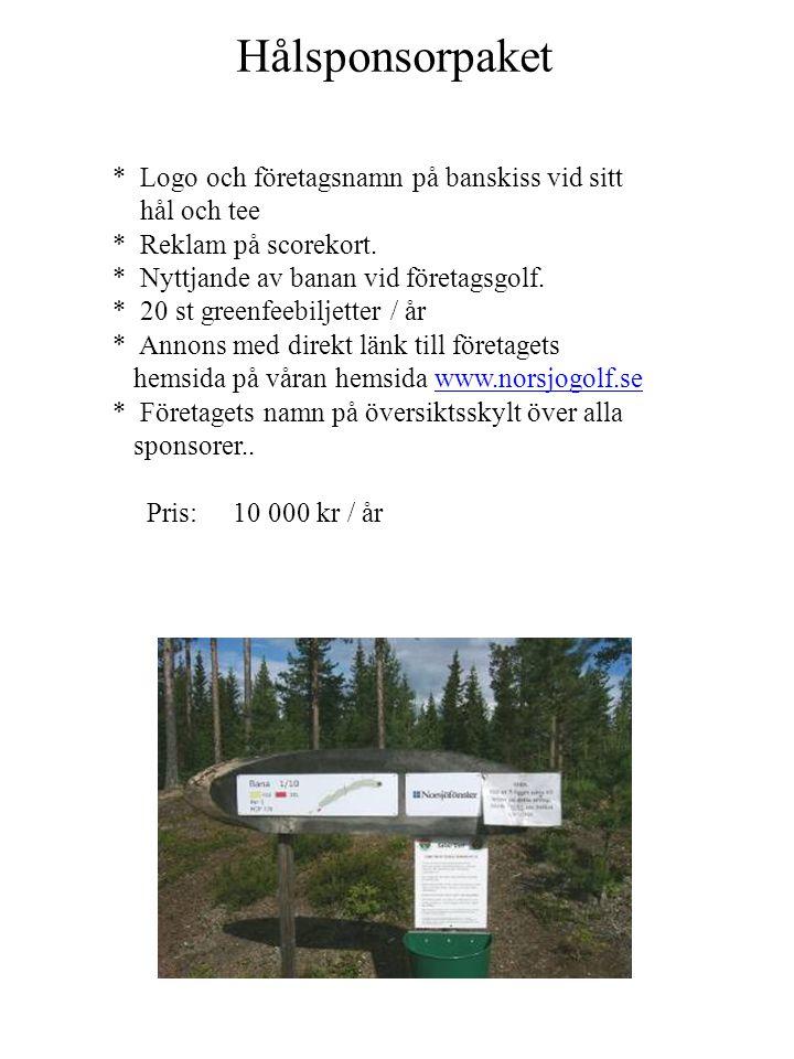 Sponsorpaket Klubbstuga Lågprisalternativ (obegränsat antal) Företagets namn på samlingsskylt på klubbhus.