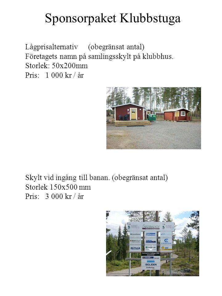 Sponsorpaket Klubbstuga Lågprisalternativ (obegränsat antal) Företagets namn på samlingsskylt på klubbhus. Storlek: 50x200mm Pris: 1 000 kr / år Skylt