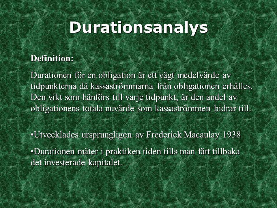 Durationsanalys Definition: Durationen för en obligation är ett vägt medelvärde av tidpunkterna då kassaströmmarna från obligationen erhålles. Den vik