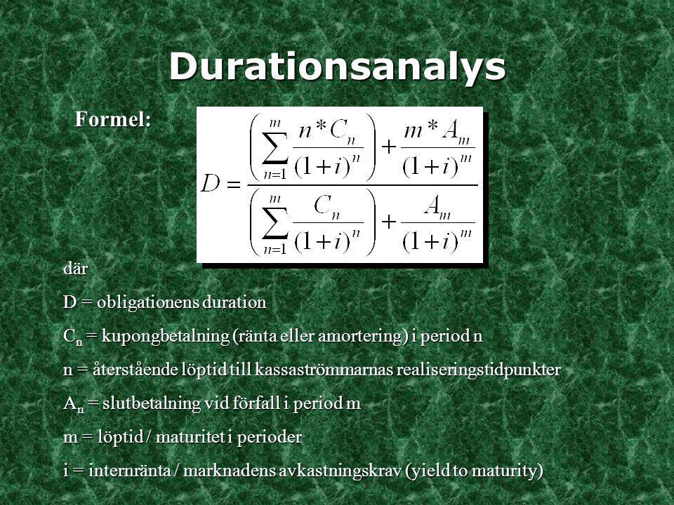 Durationsanalys Formel: där D = obligationens duration C n = kupongbetalning (ränta eller amortering) i period n n = återstående löptid till kassaströ