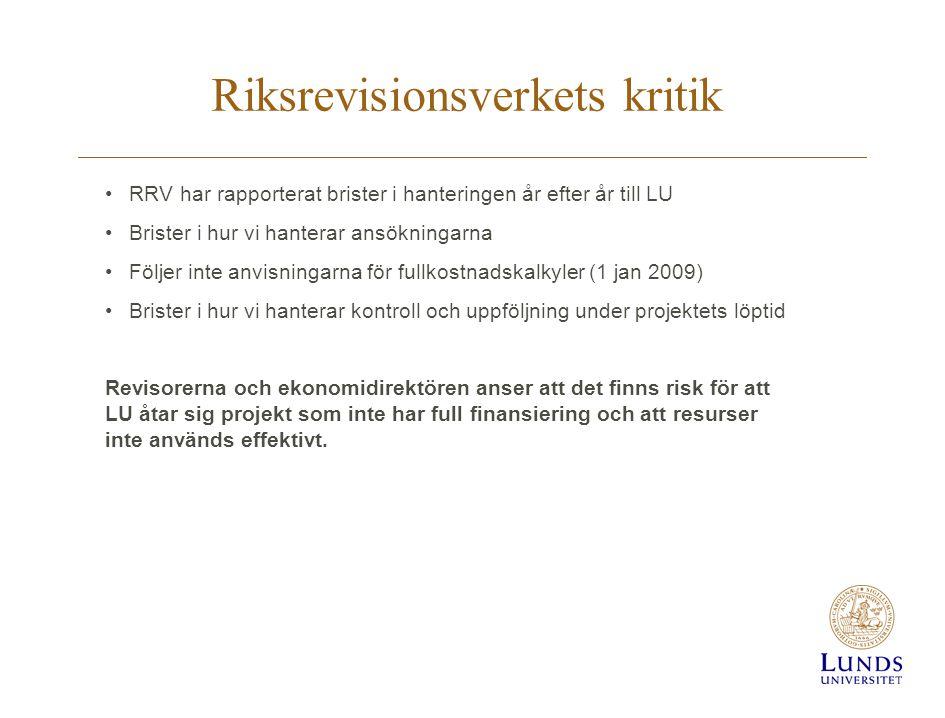 Riksrevisionsverkets kritik RRV har rapporterat brister i hanteringen år efter år till LU Brister i hur vi hanterar ansökningarna Följer inte anvisningarna för fullkostnadskalkyler (1 jan 2009) Brister i hur vi hanterar kontroll och uppföljning under projektets löptid Revisorerna och ekonomidirektören anser att det finns risk för att LU åtar sig projekt som inte har full finansiering och att resurser inte används effektivt.