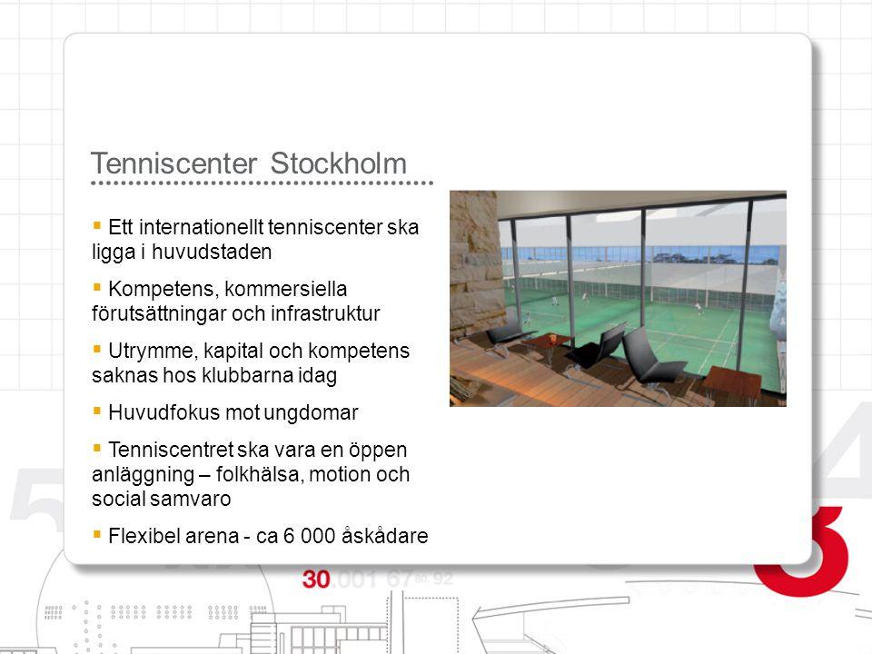 Tenniscenter Stockholm  Ett internationellt tenniscenter ska ligga i huvudstaden  Kompetens, kommersiella förutsättningar och infrastruktur  Utrymm