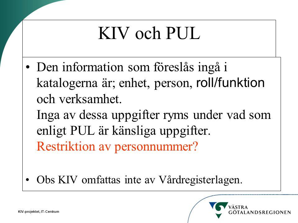 KIV och PUL Den information som föreslås ingå i katalogerna är; enhet, person, roll/funktion och verksamhet. Inga av dessa uppgifter ryms under vad so