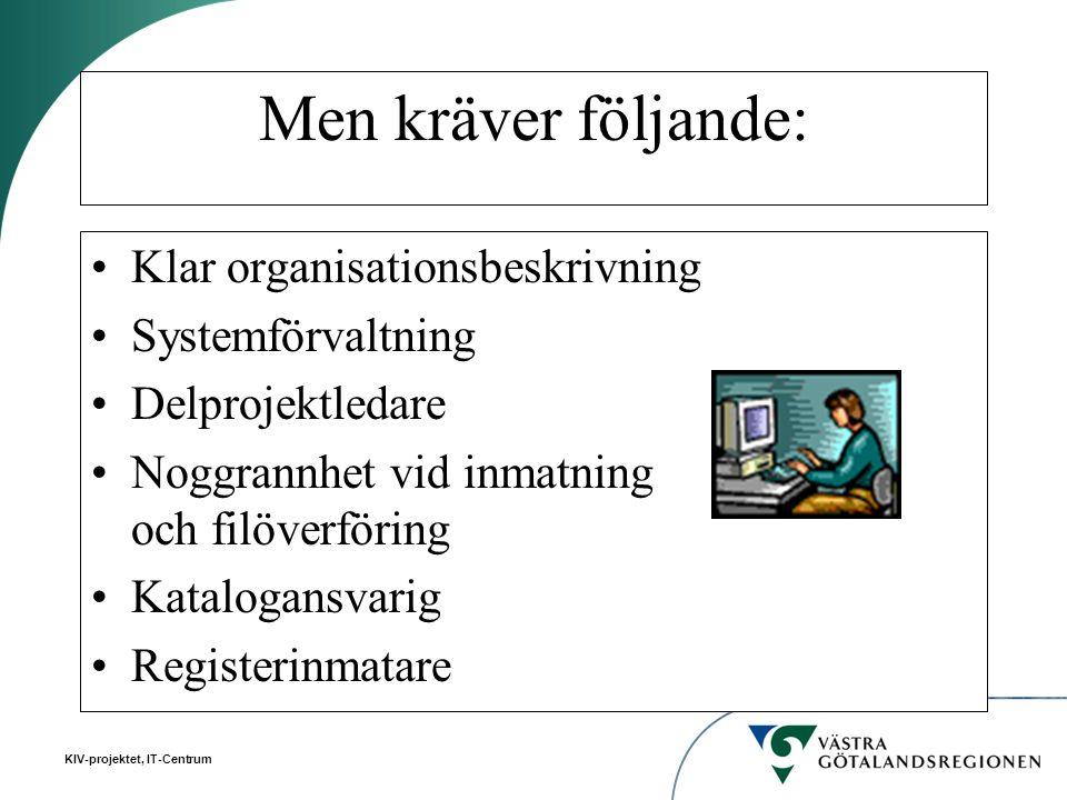 KIV-projektet, IT-Centrum Men kräver följande: Klar organisationsbeskrivning Systemförvaltning Delprojektledare Noggrannhet vid inmatning och filöverf