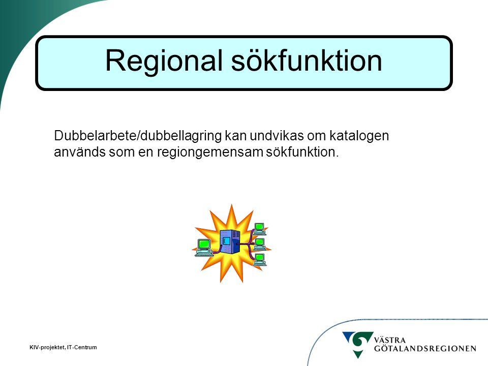 KIV-projektet, IT-Centrum Dubbelarbete/dubbellagring kan undvikas om katalogen används som en regiongemensam sökfunktion. Regional sökfunktion
