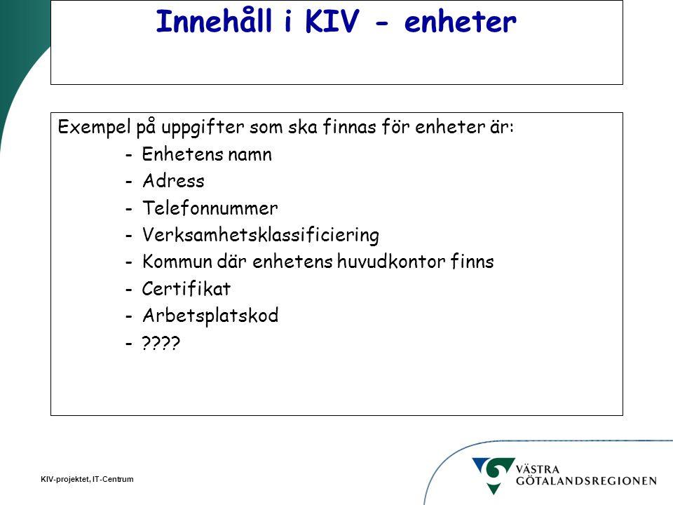 KIV-projektet, IT-Centrum Innehåll i KIV - enheter Exempel på uppgifter som ska finnas för enheter är: -Enhetens namn -Adress -Telefonnummer -Verksamh