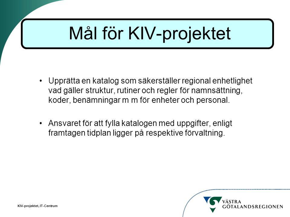 KIV-projektet, IT-Centrum Upprätta en katalog som säkerställer regional enhetlighet vad gäller struktur, rutiner och regler för namnsättning, koder, b