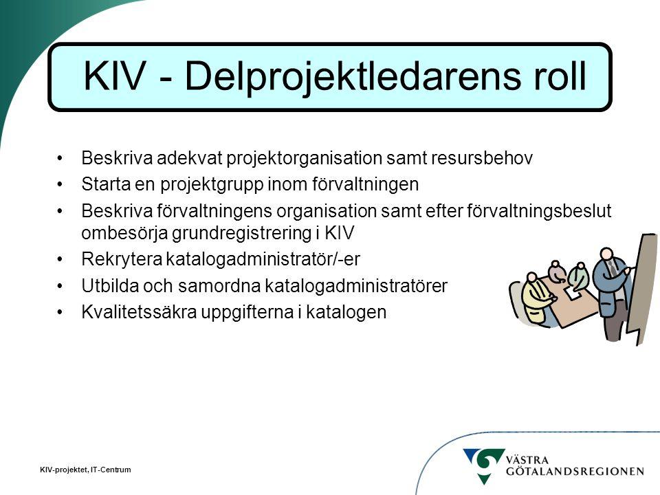 KIV-projektet, IT-Centrum Beskriva adekvat projektorganisation samt resursbehov Starta en projektgrupp inom förvaltningen Beskriva förvaltningens orga