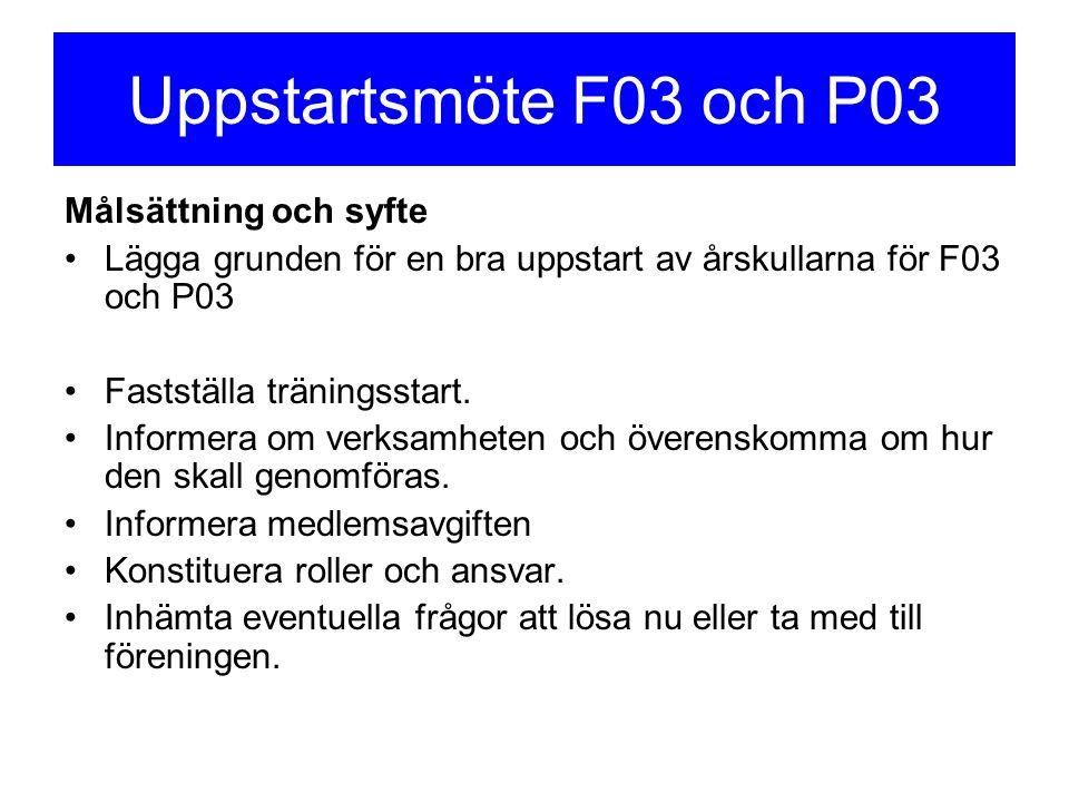 Uppstartsmöte F03 och P03 Målsättning och syfte Lägga grunden för en bra uppstart av årskullarna för F03 och P03 Fastställa träningsstart. Informera o