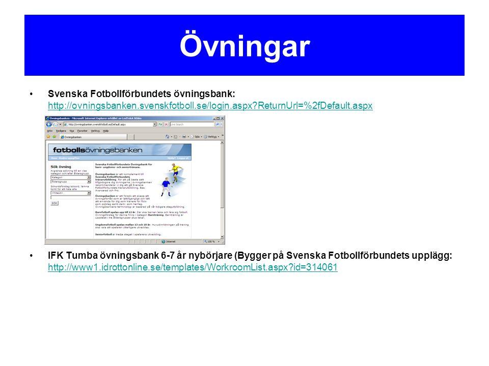 Övningar Svenska Fotbollförbundets övningsbank: http://ovningsbanken.svenskfotboll.se/login.aspx?ReturnUrl=%2fDefault.aspx http://ovningsbanken.svensk