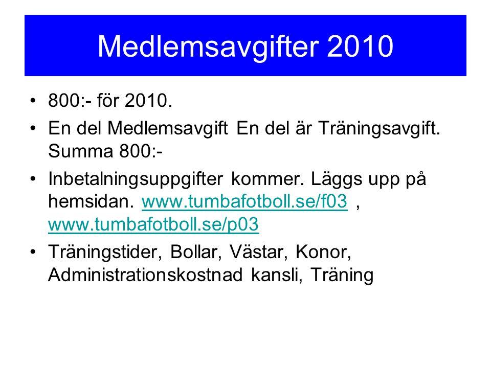 Medlemsavgifter 2010 800:- för 2010. En del Medlemsavgift En del är Träningsavgift. Summa 800:- Inbetalningsuppgifter kommer. Läggs upp på hemsidan. w