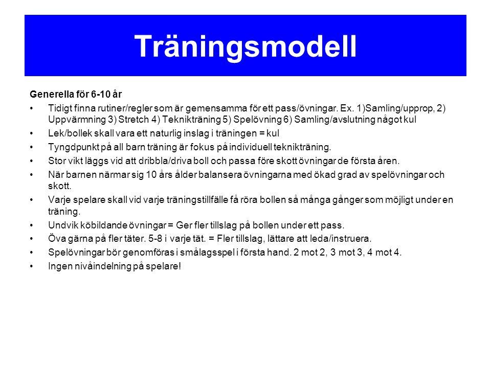 Träningsmodell Generella för 6-10 år Tidigt finna rutiner/regler som är gemensamma för ett pass/övningar. Ex. 1)Samling/upprop, 2) Uppvärmning 3) Stre