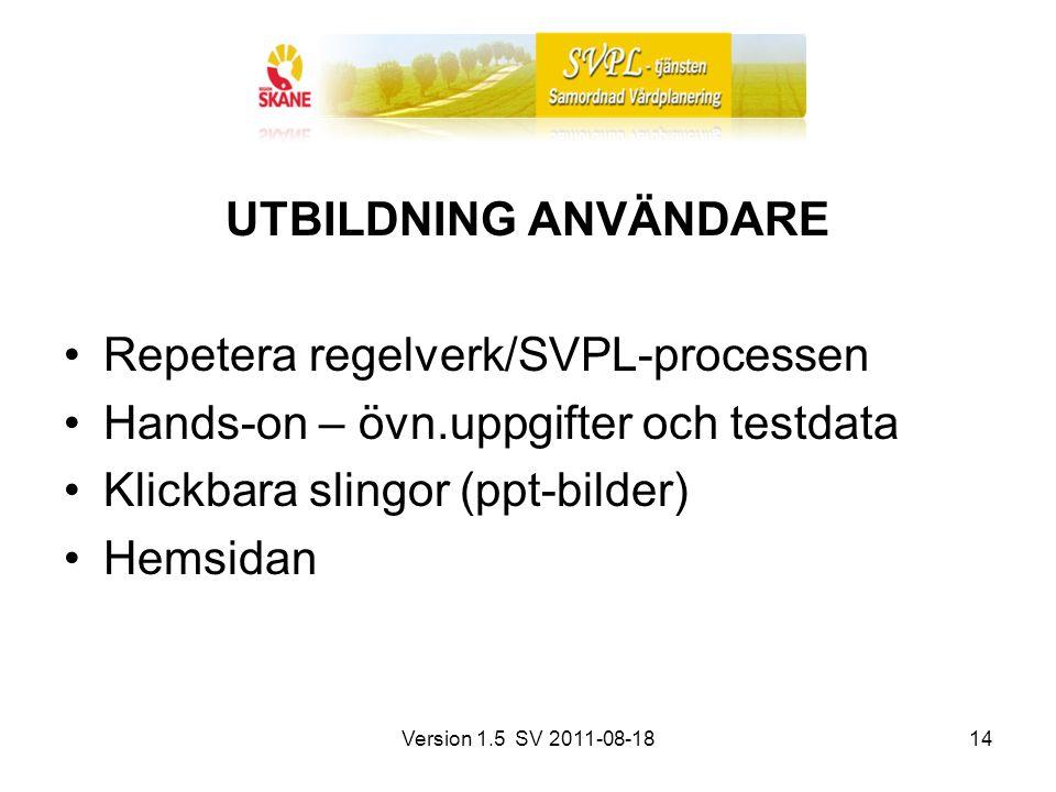 Version 1.5 SV 2011-08-1814 UTBILDNING ANVÄNDARE Repetera regelverk/SVPL-processen Hands-on – övn.uppgifter och testdata Klickbara slingor (ppt-bilder) Hemsidan