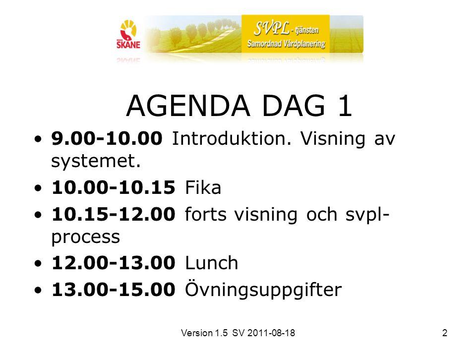 Version 1.5 SV 2011-08-182 AGENDA DAG 1 9.00-10.00 Introduktion. Visning av systemet. 10.00-10.15 Fika 10.15-12.00 forts visning och svpl- process 12.