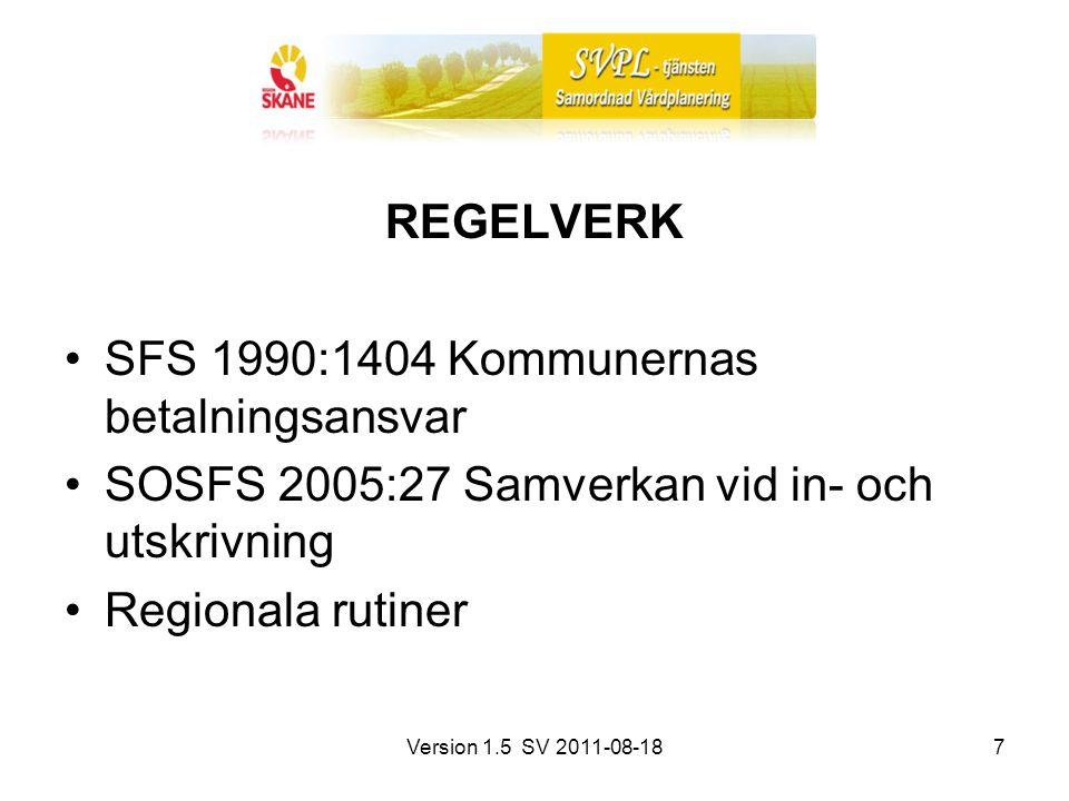Version 1.5 SV 2011-08-187 REGELVERK SFS 1990:1404 Kommunernas betalningsansvar SOSFS 2005:27 Samverkan vid in- och utskrivning Regionala rutiner