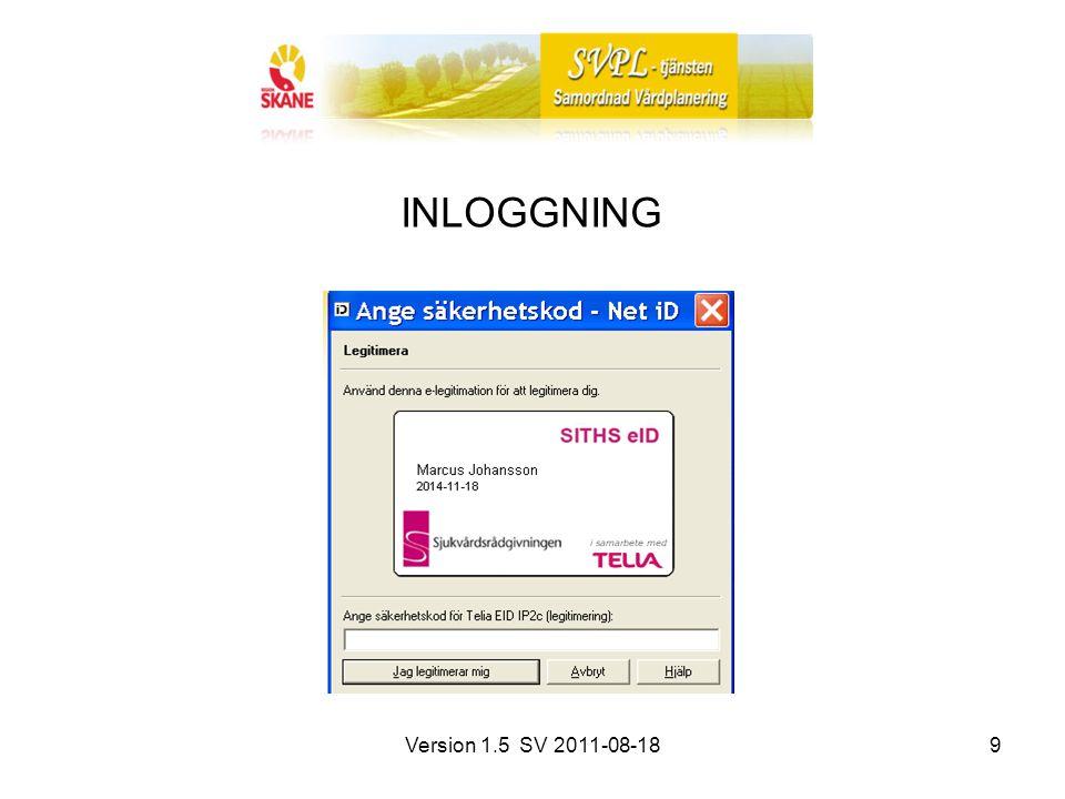 Version 1.5 SV 2011-08-189 INLOGGNING