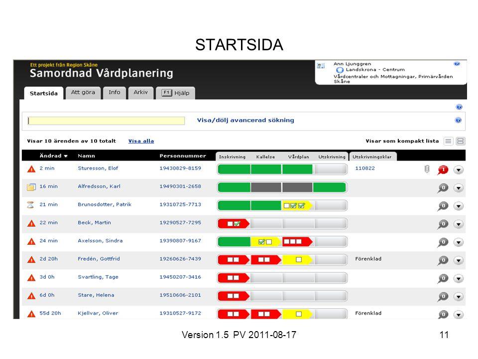 Version 1.5 PV 2011-08-1711 STARTSIDA