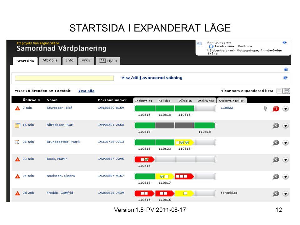 Version 1.5 PV 2011-08-1712 STARTSIDA I EXPANDERAT LÄGE