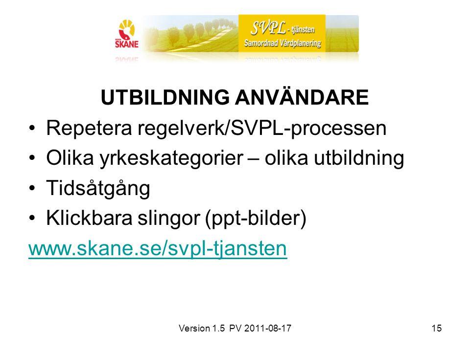 Version 1.5 PV 2011-08-1715 UTBILDNING ANVÄNDARE Repetera regelverk/SVPL-processen Olika yrkeskategorier – olika utbildning Tidsåtgång Klickbara sling