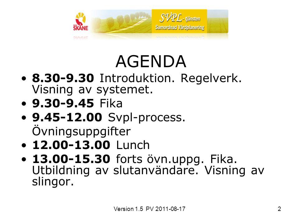 Version 1.5 PV 2011-08-172 AGENDA 8.30-9.30 Introduktion. Regelverk. Visning av systemet. 9.30-9.45 Fika 9.45-12.00 Svpl-process. Övningsuppgifter 12.