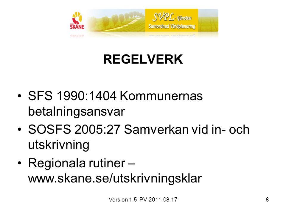 Version 1.5 PV 2011-08-178 REGELVERK SFS 1990:1404 Kommunernas betalningsansvar SOSFS 2005:27 Samverkan vid in- och utskrivning Regionala rutiner – ww