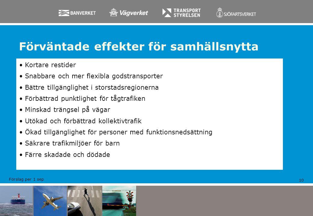 Förväntade effekter för samhällsnytta 10 Kortare restider Snabbare och mer flexibla godstransporter Bättre tillgänglighet i storstadsregionerna Förbät