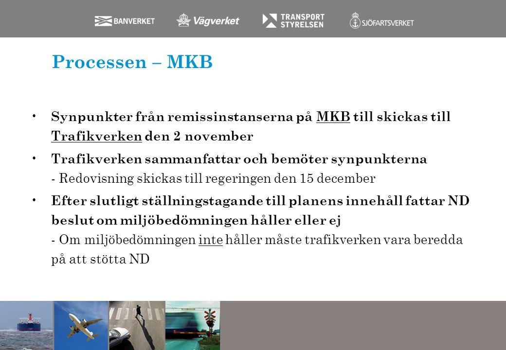 Processen – MKB Synpunkter från remissinstanserna på MKB till skickas till Trafikverken den 2 november Trafikverken sammanfattar och bemöter synpunkte