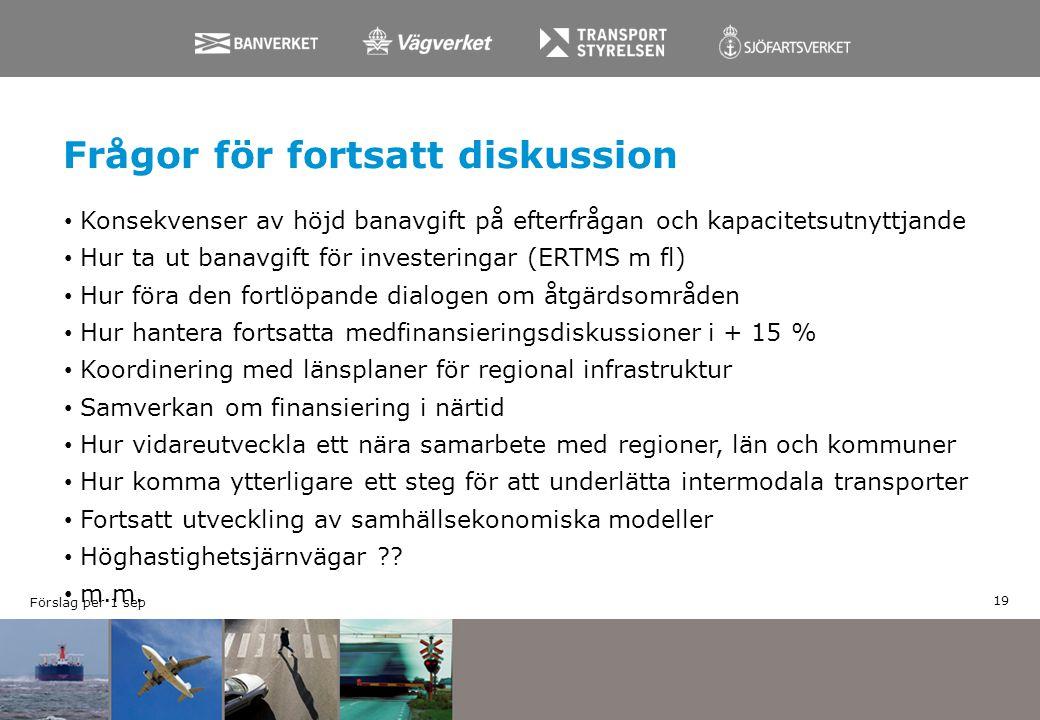 Frågor för fortsatt diskussion Konsekvenser av höjd banavgift på efterfrågan och kapacitetsutnyttjande Hur ta ut banavgift för investeringar (ERTMS m
