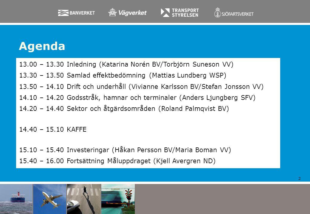 Agenda 2 13.00 – 13.30 Inledning (Katarina Norén BV/Torbjörn Suneson VV) 13.30 – 13.50 Samlad effektbedömning (Mattias Lundberg WSP) 13.50 – 14.10 Dri