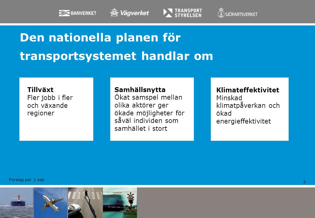 Nyheter med Nationell plan 2010 - 2021 4 EN samlad plan Trafikslagsövergripande utgångspunkt Fyrstegsprincipen använd genomgående i arbetet Successiva anläggningskalkyler och samordnade samhällsekonomiska bedömningar för investeringsobjekten Enhetligt arbetssätt för att samla in behov (regional o nationell systemanalys) Kontinuerlig dialog och öppenhet under hela planarbetet Medfinansiering för ett stort antal investeringar Helt ny modell för Miljökonsekvensbedömning (MKB) Förslag per 1 sep