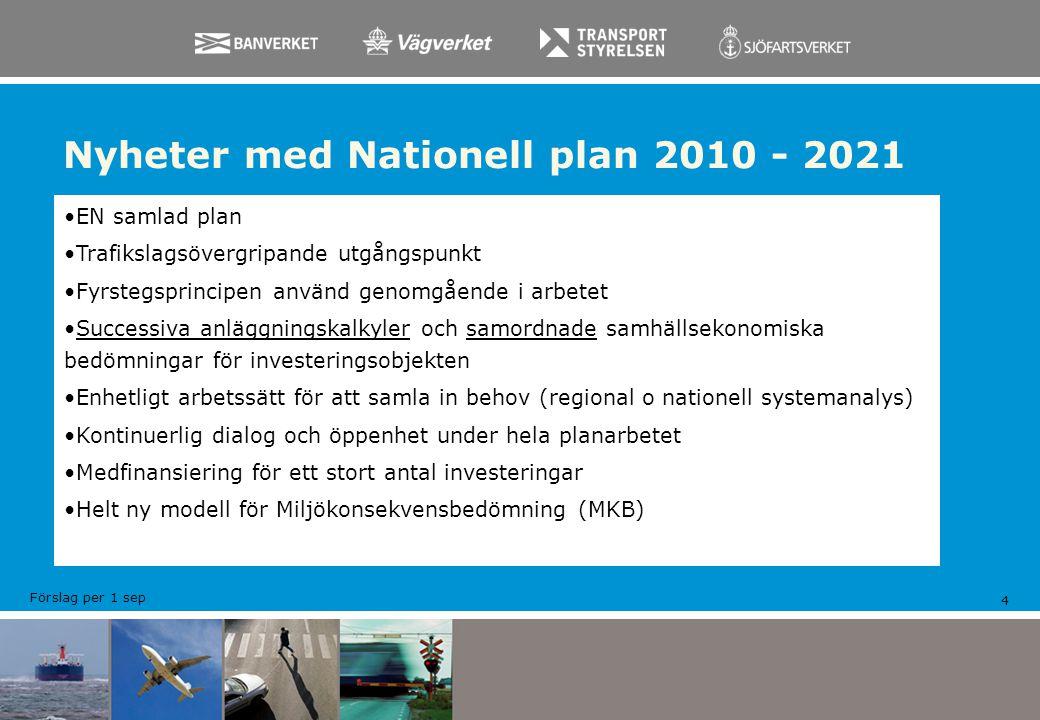 Nyheter med Nationell plan 2010 - 2021 4 EN samlad plan Trafikslagsövergripande utgångspunkt Fyrstegsprincipen använd genomgående i arbetet Successiva