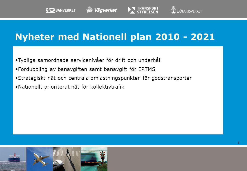 Nyheter med Nationell plan 2010 - 2021 5 Tydliga samordnade servicenivåer för drift och underhåll Fördubbling av banavgiften samt banavgift för ERTMS