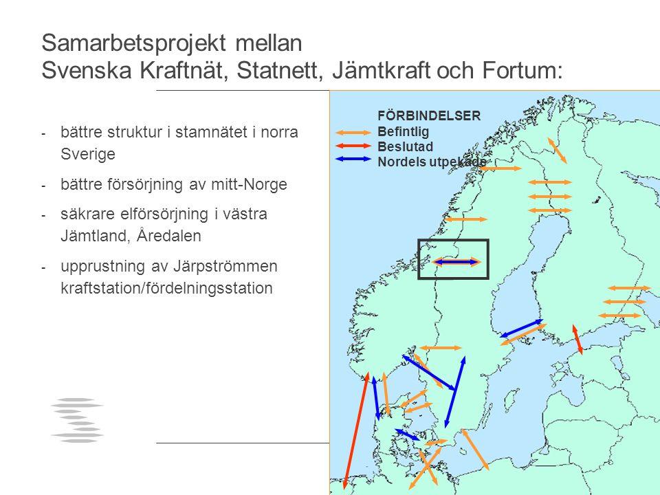 Samarbetsprojekt mellan Svenska Kraftnät, Statnett, Jämtkraft och Fortum: - bättre struktur i stamnätet i norra Sverige - bättre försörjning av mitt-N