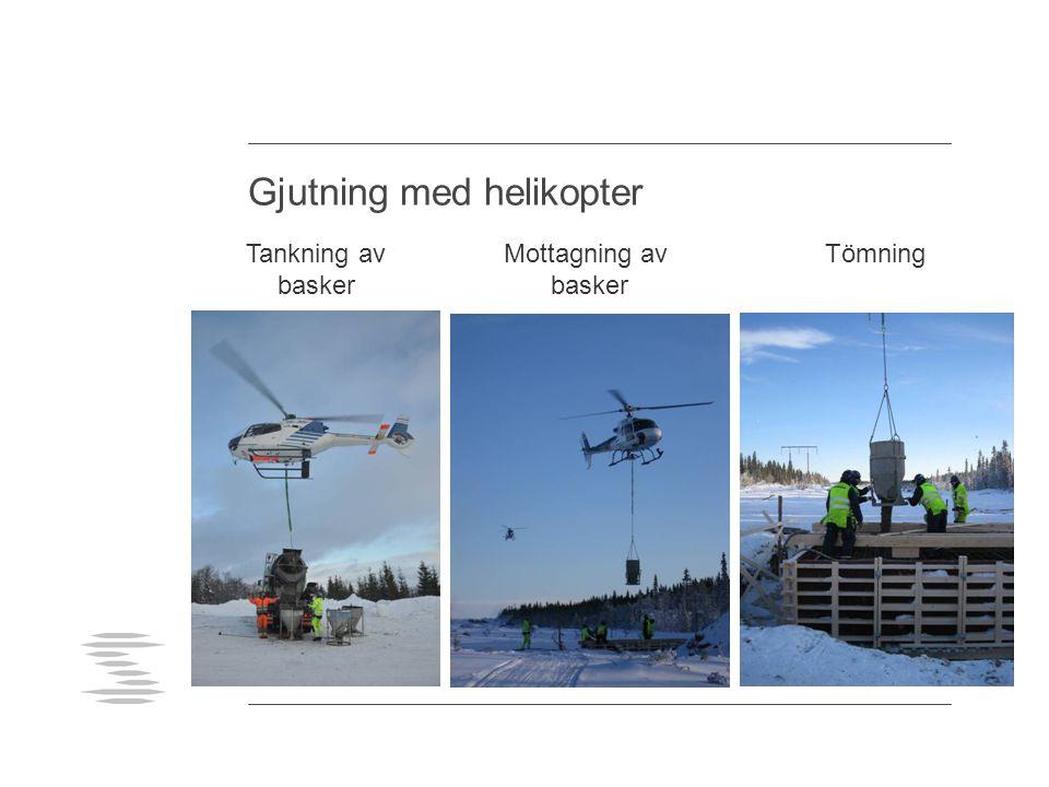 Gjutning med helikopter Tankning av basker Mottagning av basker Tömning