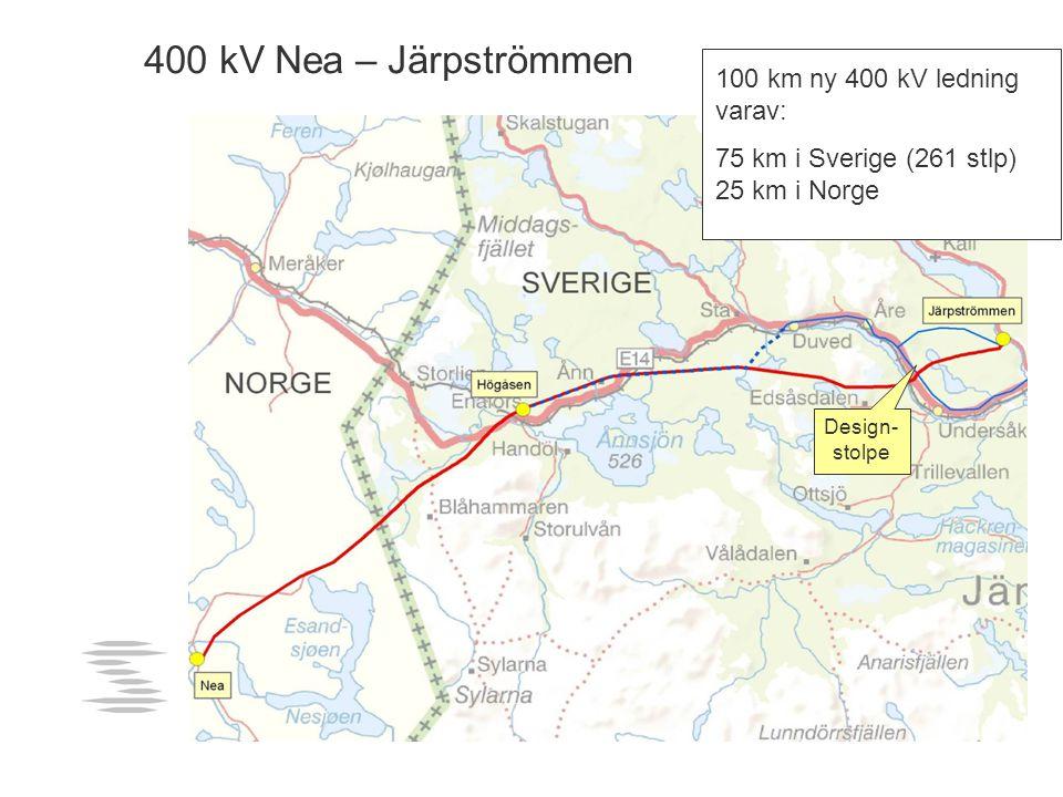 400 kV Nea - Järpströmmen 100 km ny 400 kV ledning varav: 75 km i Sverige (261 stlp) 25 km i Norge 400 kV Nea – Järpströmmen Design- stolpe