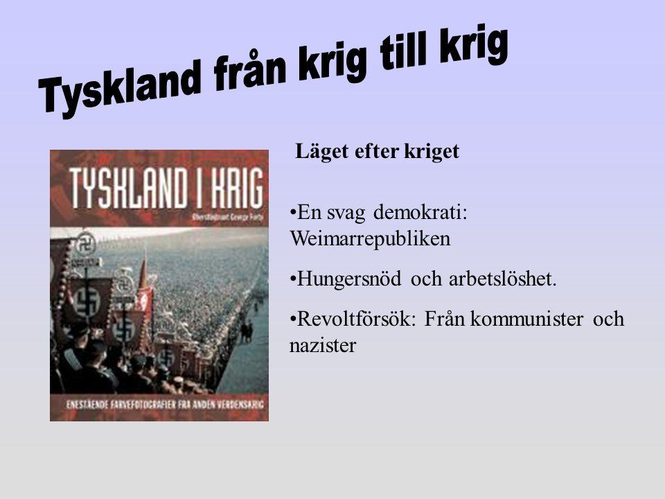 En svag demokrati: Weimarrepubliken Hungersnöd och arbetslöshet. Revoltförsök: Från kommunister och nazister Läget efter kriget